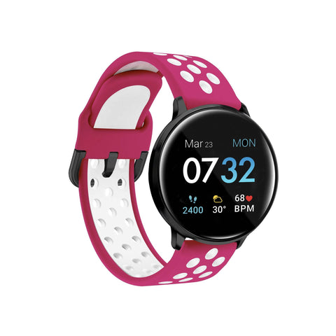 iTouch Sport 2021 Smartwatch: Silver Case with Fuchsia/White Perforated Strap