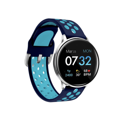 iTouch Sport 2021 Smartwatch: Silver Case with Navy/Turquoise Perforated Strap