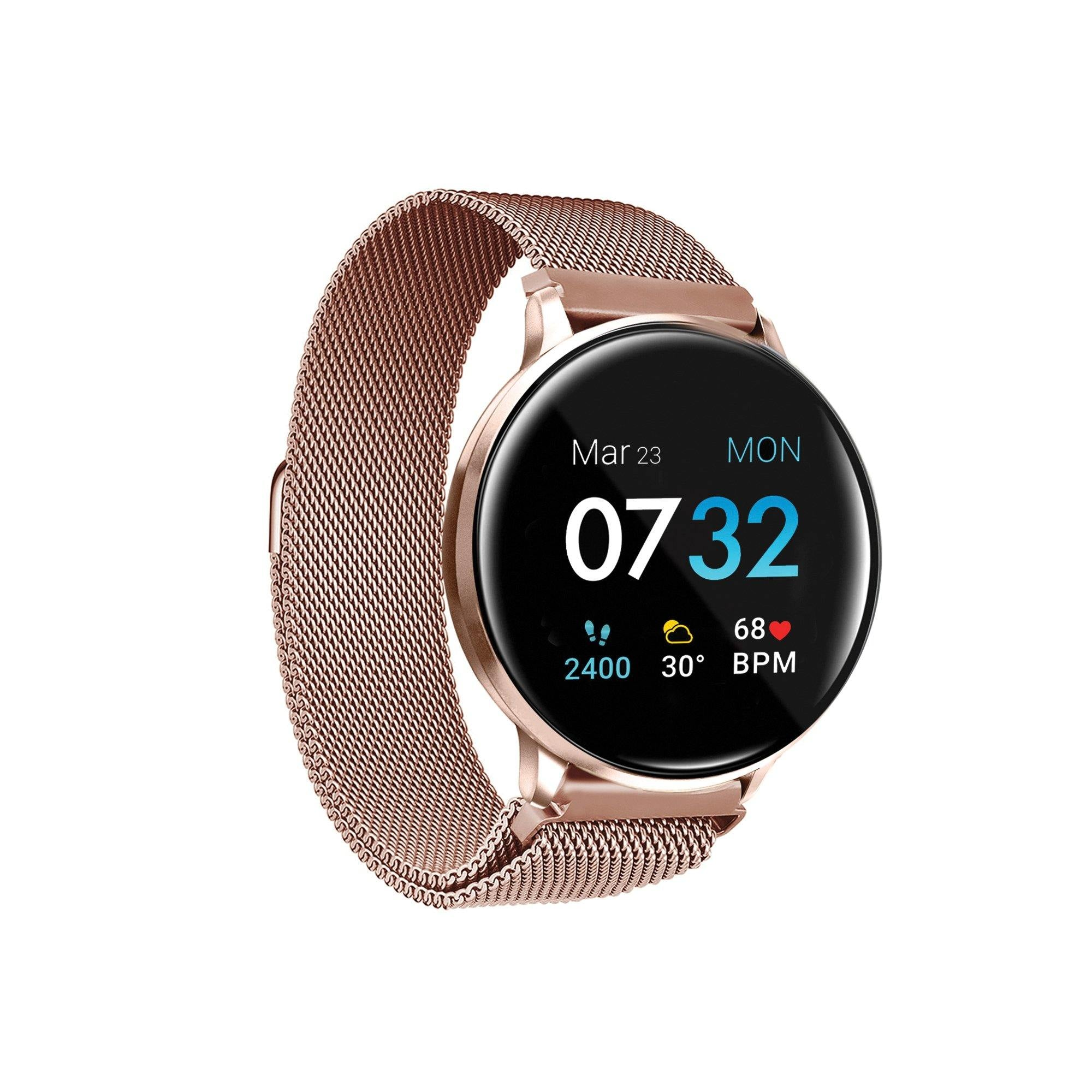 iTouch Sport 3 Smartwatch: Rose Gold Case with Rose Gold Mesh Strap