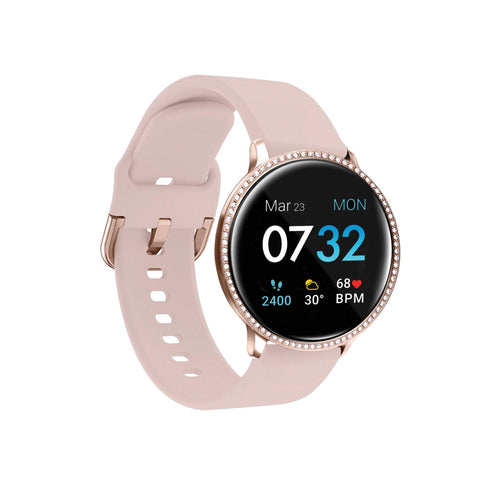 iTouch Sport 3 SE Smartwatch: Rose Gold Crystal Case with Blush Strap