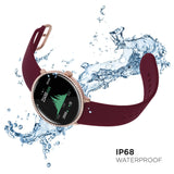 iTouch Sport 3 SE Smartwatch: Rose Gold Crystal Case with Merlot Strap