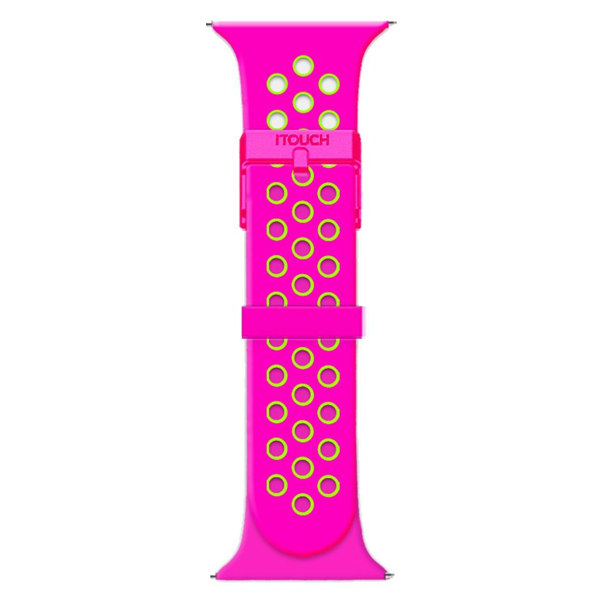 iTouch Sport Perforated Silicone Strap: Fuchsia/Lime