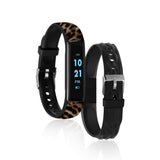 iTouch Slim Fitness Tracker: Leopard Print/Black Interchangeable Straps