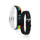 iTouch Slim Fitness Tracker: Rainbow Print/Black Interchangeable Straps