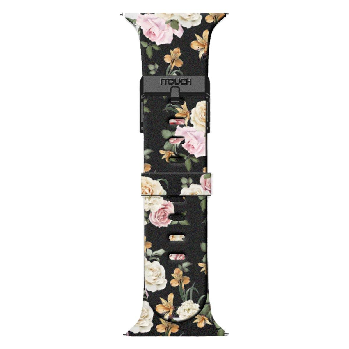 iTouch Air SE Silicone Strap: Black Floral