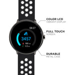 iTouch Sport Smartwatch: Black Case With Black/Grey Perforated Strap