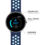 iTouch Sport Smartwatch: Silver Case With Navy/Turquoise Perforated Strap