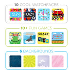 iTouch PlayZoom Smartwatch For Kids: Black Band With Flames Print