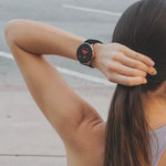 iTouch Sport Smartwatch: Black Case With Black/Red Perforated Strap