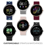 iTouch Sport 3 Smartwatch: Silver Case with Fuchsia/White Perforated Strap