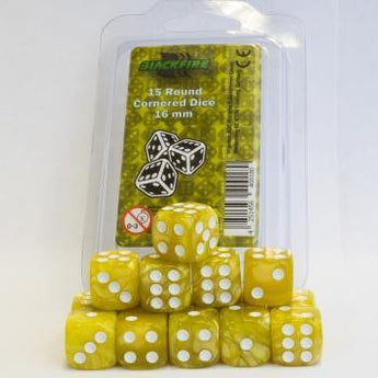 Blackfire Dice - 16mm D6 Dice Set - Marbled Yellow (15 Dice) - Ventura Games
