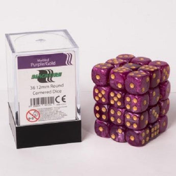 Blackfire Dice Cube - 12mm D6 36 Dice Set - Marbled Purple/Gold - Ventura Games