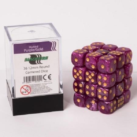 Blackfire Dice Cube - 12mm D6 36 Dice Set - Marbled Purple/Gold