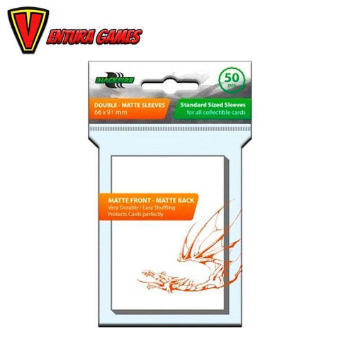 Blackfire Sleeves - Standard Double-Matte White (50 Sleeves) - Ventura Games