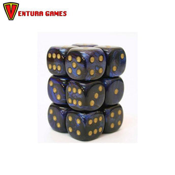 Chessex Dice Blocks - Lustrous Shadow  with gold (12 Dice) - Ventura Games
