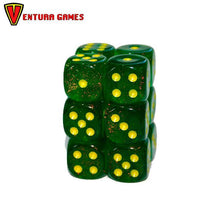 Chessex Dice Blocks - Borealis Maple Green with yellow (12 Dice) - Ventura Games