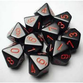 Chessex Opaque Polyhedral Ten d10 Set - Black/red