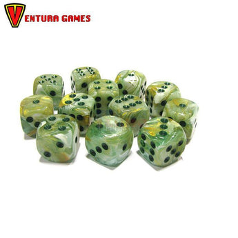 Chessex Dice Blocks - Marble Green with dark green (12 Dice) - Ventura Games