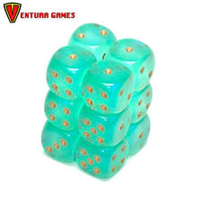 Chessex Dice Blocks - Borealis Light Green with gold (12 Dice) - Ventura Games