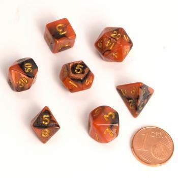 Blackfire Dice - Fairy Dice RPG Set - BiColor Black Orange (7 Dice) - Ventura Games