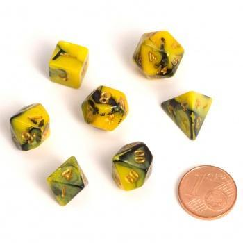 Blackfire Dice - Fairy Dice RPG Set - BiColor Yellow Black (7 Dice) - Ventura Games