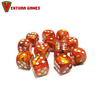 Chessex Dice Blocks - Lustrous Gold with silver (12 Dice) - Ventura Games