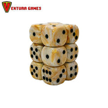 Chessex Dice Blocks - Marble Ivory with black (12 Dice) - Ventura Games