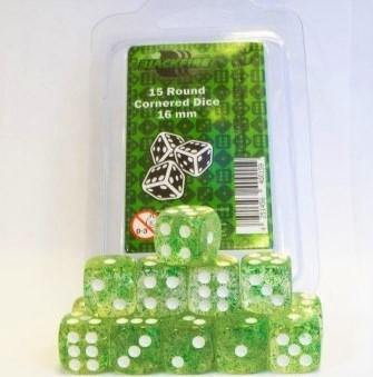 Blackfire Dice - 16mm D6 Dice Set - Glitter Green (15 Dice) - Ventura Games