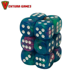 Chessex Dice Blocks - Festive Waterlily with white (12 Dice) - Ventura Games