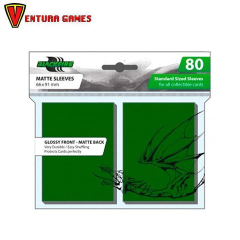 Blackfire Standard Sleeves -  Green (80 Sleeves) - Ventura Games