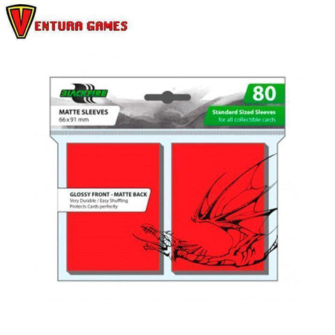 Blackfire Standard Sleeves -  Red (80 Sleeves) - Ventura Games