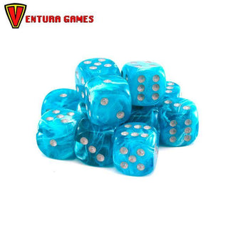 Chessex Dice Blocks - Cirrus Aqua with silver (12 Dice) - Ventura Games