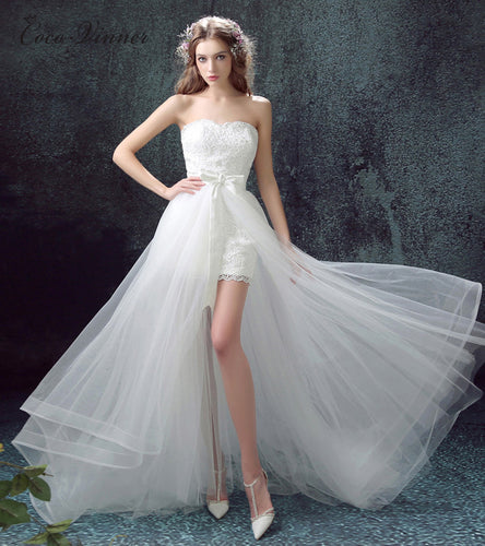 d1b3d5ed5 Cv Sweetheart Off the Shoulder Detachable Train Beach Wedding Dress