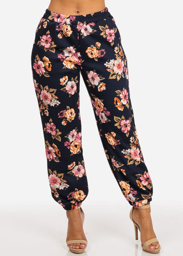 Trendy Pull On High Rise Floral Print Navy Jogger Pants