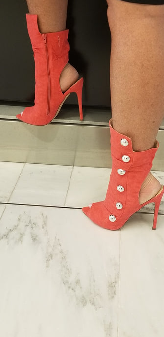 Heather - Red Peep Toe Cut Out Side Button Heel