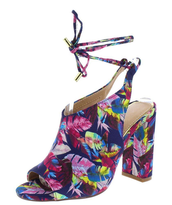 Floral Peep Toe Ankle Wrap Tall Chunky Heel