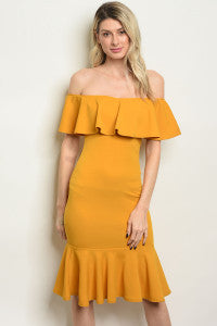 Mustard Ruffled Dress