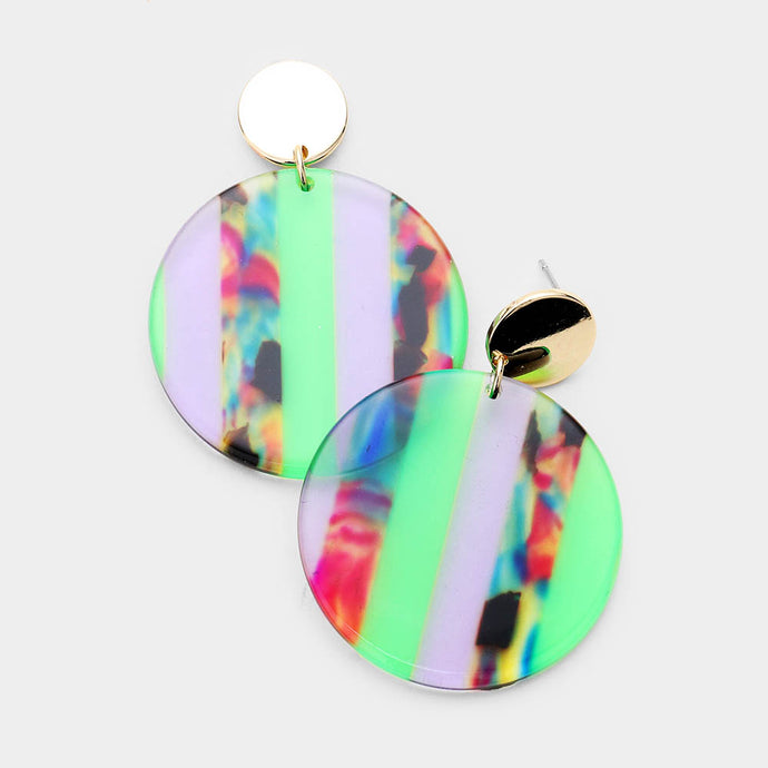 Multi Color Lucite Dangle Green Earrings