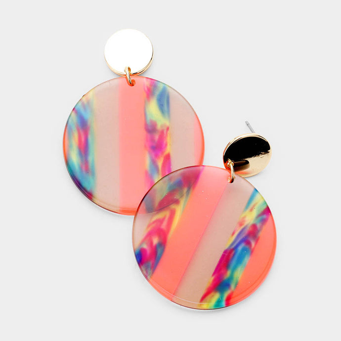 Multi Color Lucite Dangle Orange Earrings