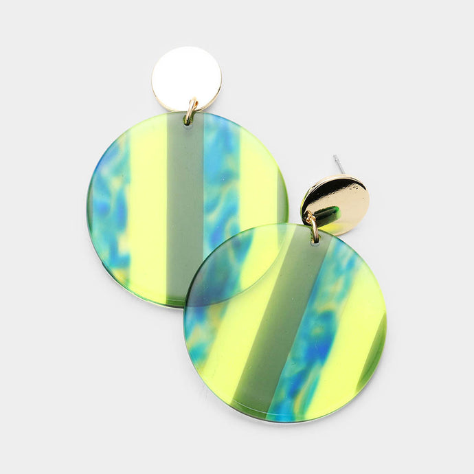 Multi Color Lucite Dangle Yellow Earrings