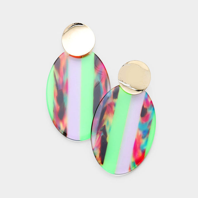Multi Color Lucite Oval Green Earrings