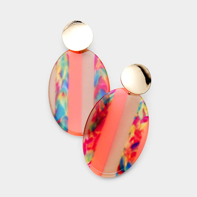 Multi Color Lucite Oval Orange Earrings