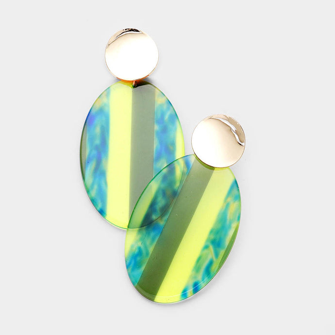 Multi Color Lucite Oval Yellow Earrings
