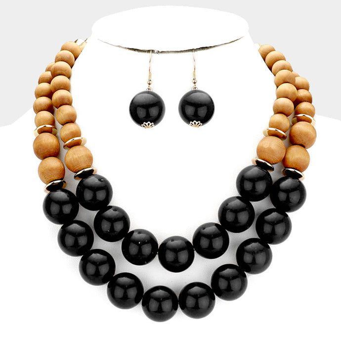 Wood Ball Double Strand Statement Necklace Black