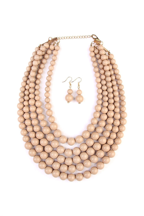 Light Brown Beaded Multi-layer Bib Necklace set