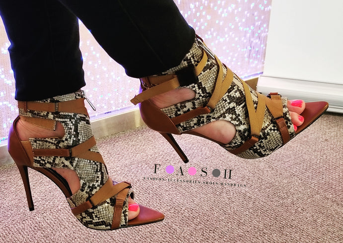 Discovery Black Brown Point Toe Snake Heels