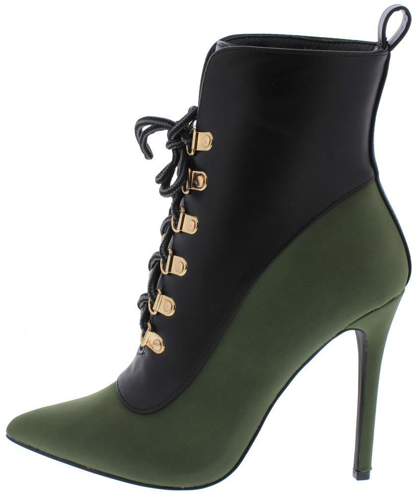 Olive Two Tone Lace Up Stiletto Boot