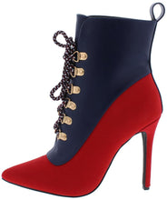Red/Navy Two Tone Lace Up Stiletto Boot