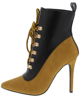 Tan Two Tone Lace Up Stiletto Boot