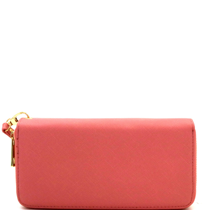 Saffiano Double Zip-Around Wristlet Pink Wallet